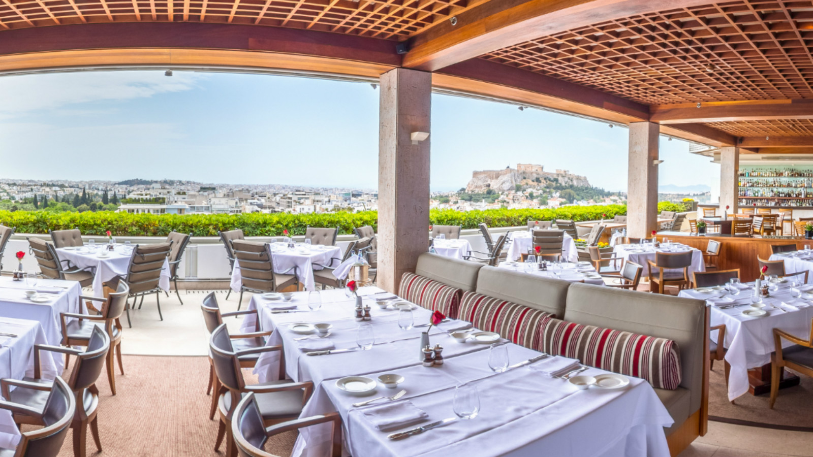 Hotel Grande Bretagne_GB Roof Garden Restaurant and Bar_Athens Greece_View to Syntagma Square and Acropolis