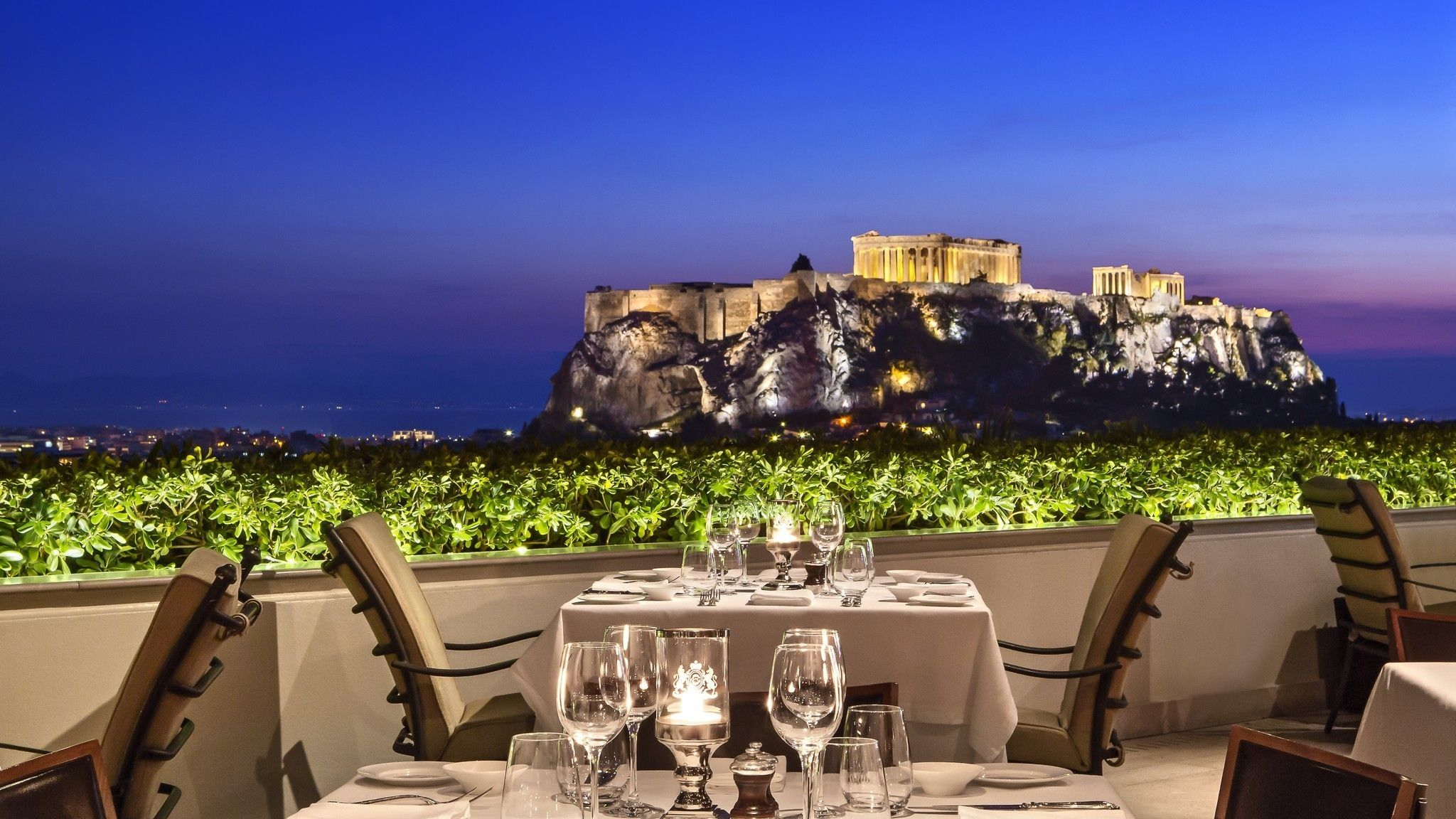 GB Roof Garden Restaurant At Dusk Time With Views To The Acropolis